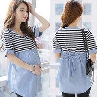 Spring Autumn Cute Appliques Linen Cotton Maternity Shirt Pregnancy Tops Shirts Maternity Clothes For Pregnant Women