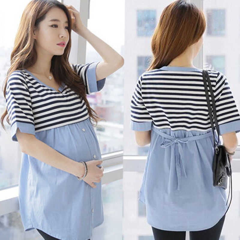 57cad1fd78ce4 Breastfeeding Blouses Feeding Cotton Maternity Shirt Pregnancy Tops Nursing  Shirts Maternity Clothes for Pregnant Women TP08