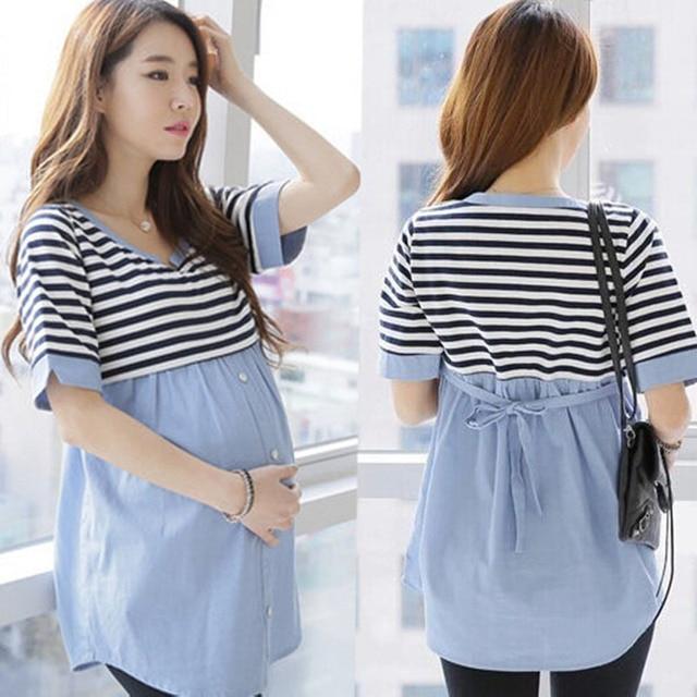 05b42506b La lactancia materna blusas de algodón camisa de maternidad embarazo  camisetas de camisas ropa de maternidad