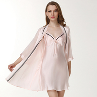 brand sexy women's robe & gown sets bathrobe +mini night dress two pieces sleepwear set2019home imitation 100%silk pajamas suit
