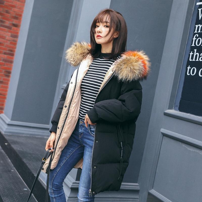2018 Winter Jacket Women Big Fur Collar White Coats Long Thick Womens Winter Warm Slim Jackets