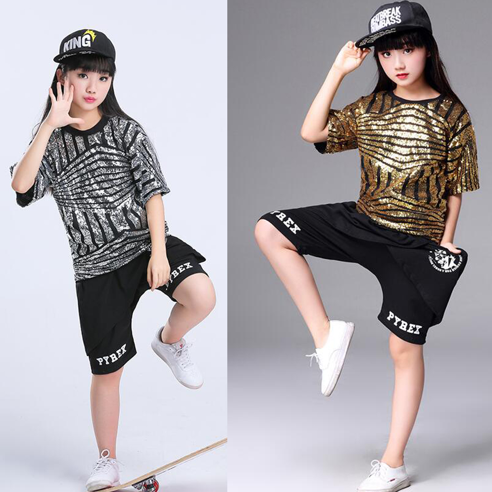 82df9b1442e6 Girls Sequin Ballroom Jazz Hip Hop Dance Competition Costume Tank ...