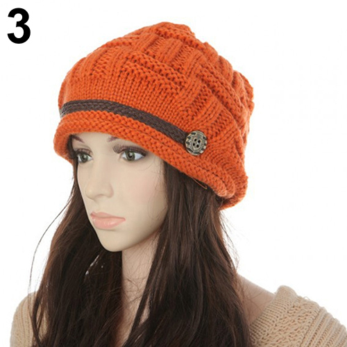 Women Fashion Winter Warm Beanie Hat Woolen Yarn Knit Crochet Cap Headwear pentacle star warm skull beanie hip hop knit cap ski crochet cuff winter hat for women men new sale