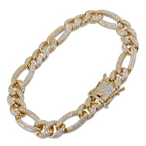 Image 3 - TOPGRILLZ Gold Silver Color Iced Out Cubic Zircon Cuban Chain Link Bracelet Men Hip Hop Charm Trend Jewelry Gifts