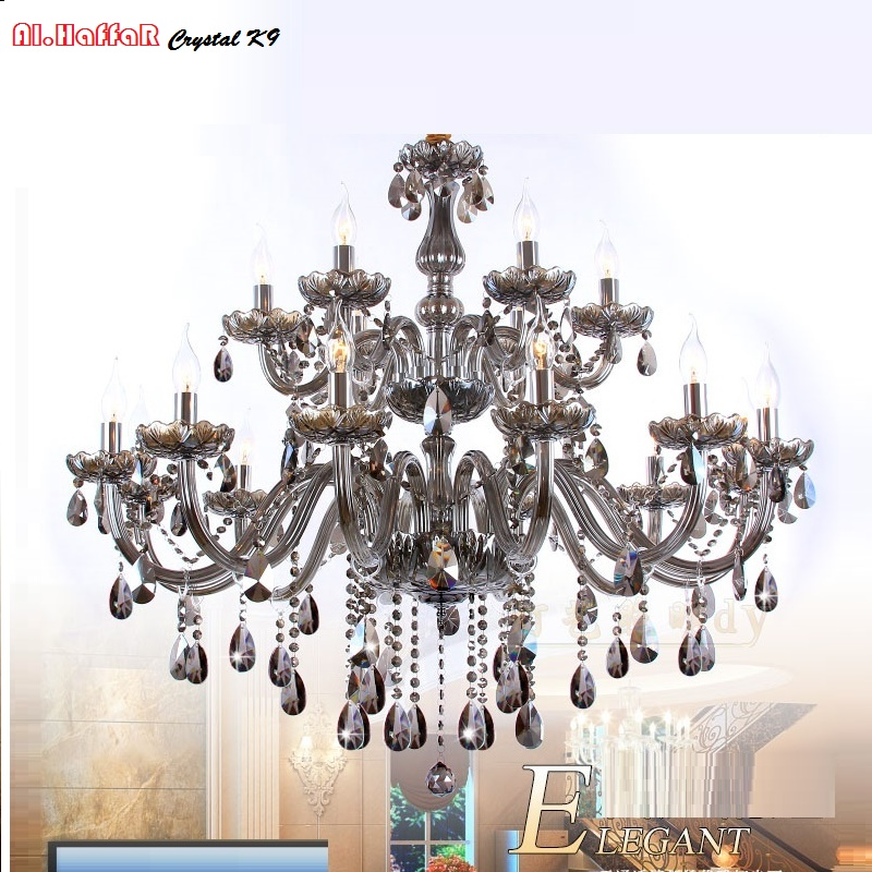 Modern Crystal Chandelier lighting Smoky grey Chandeliers Large Bedroom living room lights