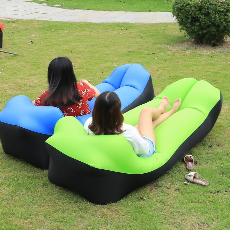 Outdoor tragbare air strand bett Aufblasbare Camping Luft Sofa banana Schlafsack liege faul tasche laybag Aufblasbare stuhl Liege