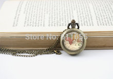 World Map 12pcs/lot Pocket Watches Necklaces Antique Map Necklace Globe pendant watch for xmas gift mens chain steampunk vintage