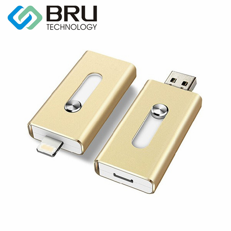 BRU USB Flash Drive 16GB For iPhone 5/5S/6/6S/7plus/8X iPad Android Storage Multi-Functional OTG PenDrive Stick gift Custom Logo