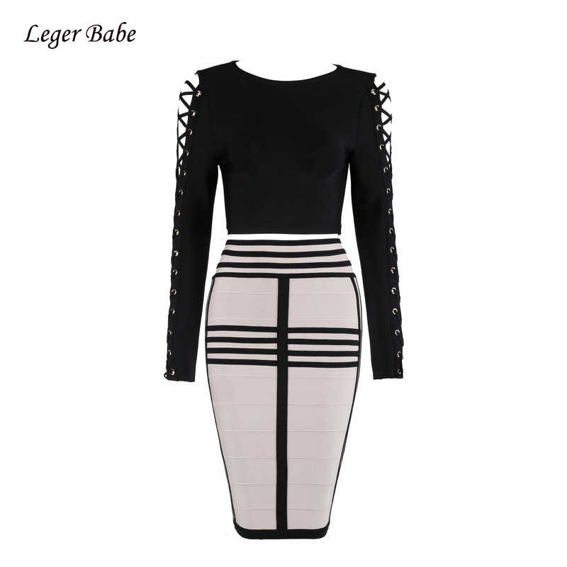 Новые модные высококачественные короткие топы с длинными рукавами и шнуровкой, полосатый длина до колена, юбки, Бандажное женское вечернее платье, Клубные комплекты из двух предметов