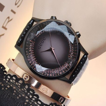 GUOU Žiūrėti Moterys Prabangus deimantas Rankiniai laikrodžiai Moteriški laikrodžiai Genuine Leather Ladies Watch Clock montre femme relogio feminino