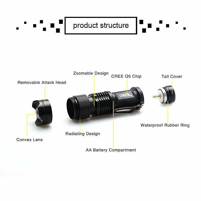 LED Mini Q5 el feneri AA 14500 pil su geçirmez açık kamp güçlü LED el feneri için yürüyüş bisiklet balıkçılık aydınlatma