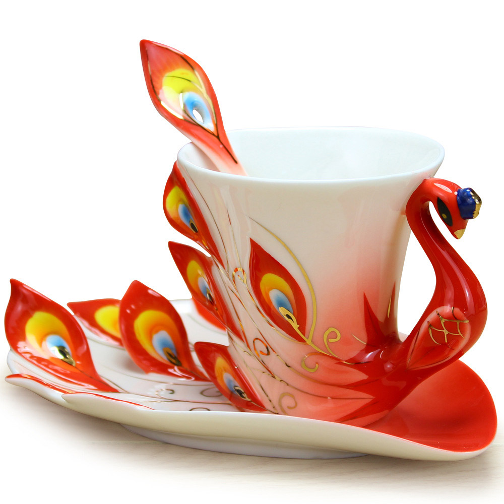 Colorful Coffee Cup Peacock Ceramic Enamel Porcelain Tea Mug 175ml