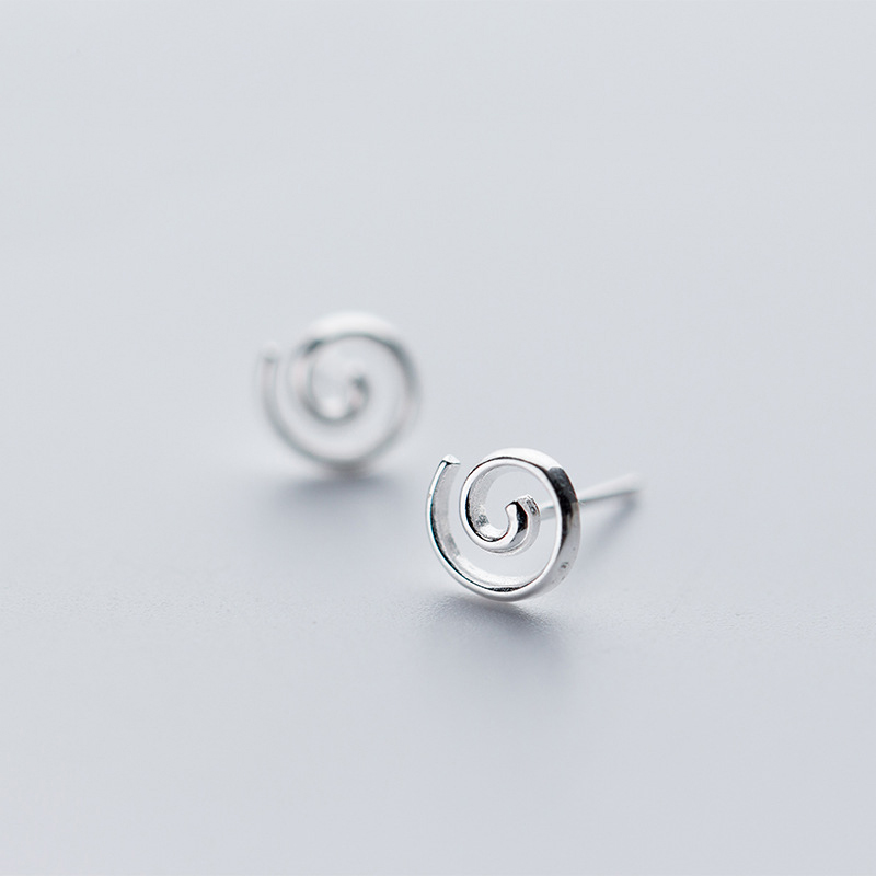 MloveAcc 100% 925 Sterling Silver Round Spiral Shape Stud Earrings for Women Creative Design Fashion Jewelry