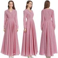 Elegant Pleated Maxi Dress Retro Abaya Full Length Muslim Long Robes Sashes Kimono Ramadan Middle East Arab Islamic Clothing