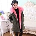 Verde do exército casaco meninas outwear destacável lining pele de coelho longo casaco de inverno com capuz de pele de guaxinim naturais meninas parkas tz127