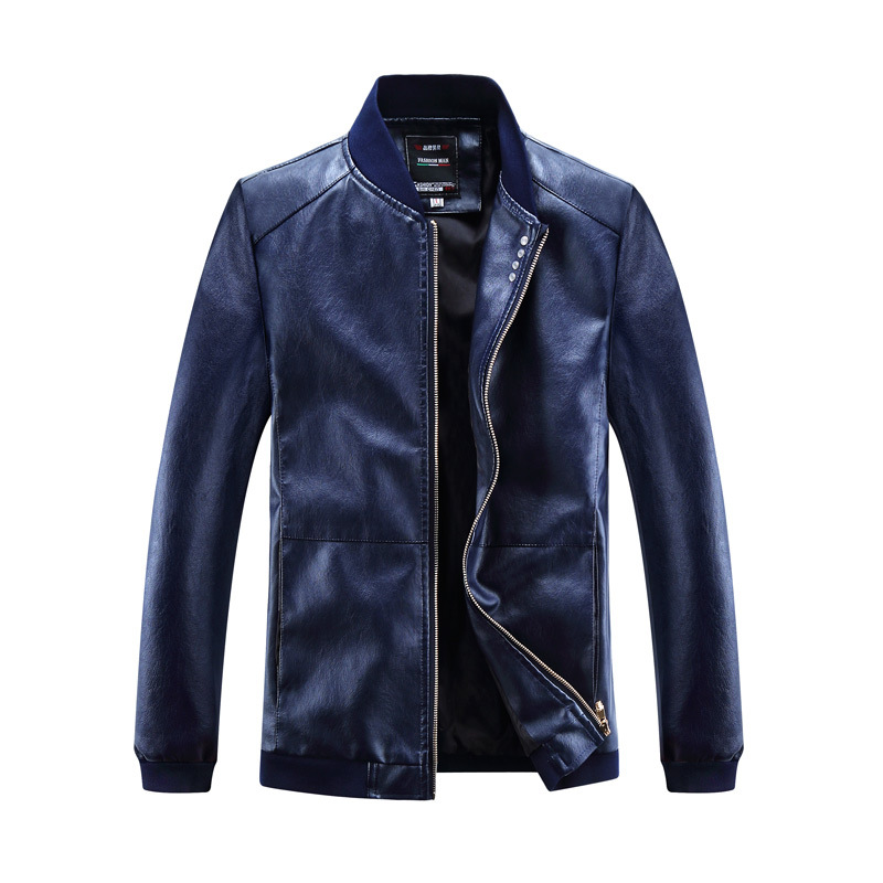 PU Jackets Casual Stand Collar Mens PU Leather Jacket 2018 Fashion Pocket Motorcycle Leather Jacket Men Slim fit