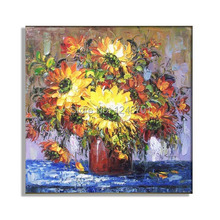 Hand painted Oil Painting Modern Thick Palette Knife Floral Impasto Fine art on Canvas sunflower