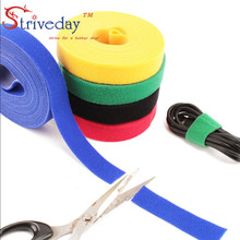 купить 5 Meters/roll Width 3 cm magic sticker nylon cable ties reusable wire management cable ties 4 colors to choose from DIY дешево