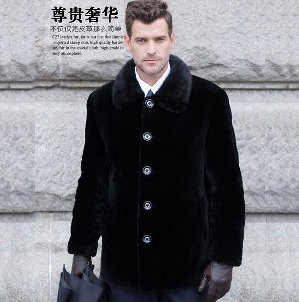 Single-breasted Warm Faux Mink Fur Coat Mens Leather Jacket Men Jaqueta De Couro Overcoat Villus Autumn Winter Thermal Outerwear Famous For High Quality Raw Materials And Great Variety Of Designs And Colors Full Range Of Specifications And Sizes