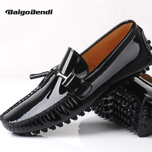 US6-10 New REAL Leather Comfort Graffiti Loafer fashion men driving car shoes slip on boat