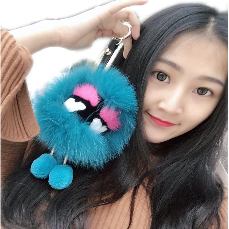 Genuine Monsters Bag Charm Key Chains Eyes Handbag Pendant Real Fox Fur Pompom Ball Keychain Bugs Car Vogue Metal Foot Keyring cute fox bobbles fur ball rhinestone keychain bag car ring keyring