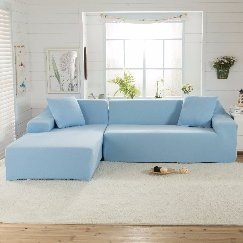 Sky Blue Solid Color Woven Lattice Sofa Cover High Grade