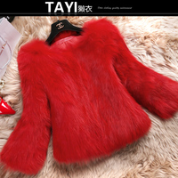 Free Shipping 2014 New Real Genuine Whole Skin Fox Fur Coat Women Winter Natural Fur Jacket
