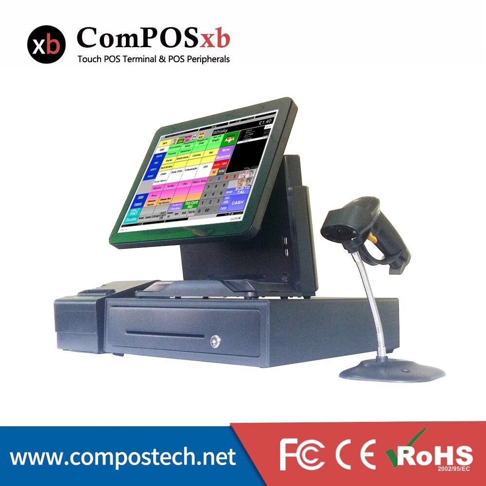 Poceni Cahsier Register 15-palčni LED zaslon na dotik prodajnega sistema, restavracijski stroj s predalnikom / optičnim bralnikom