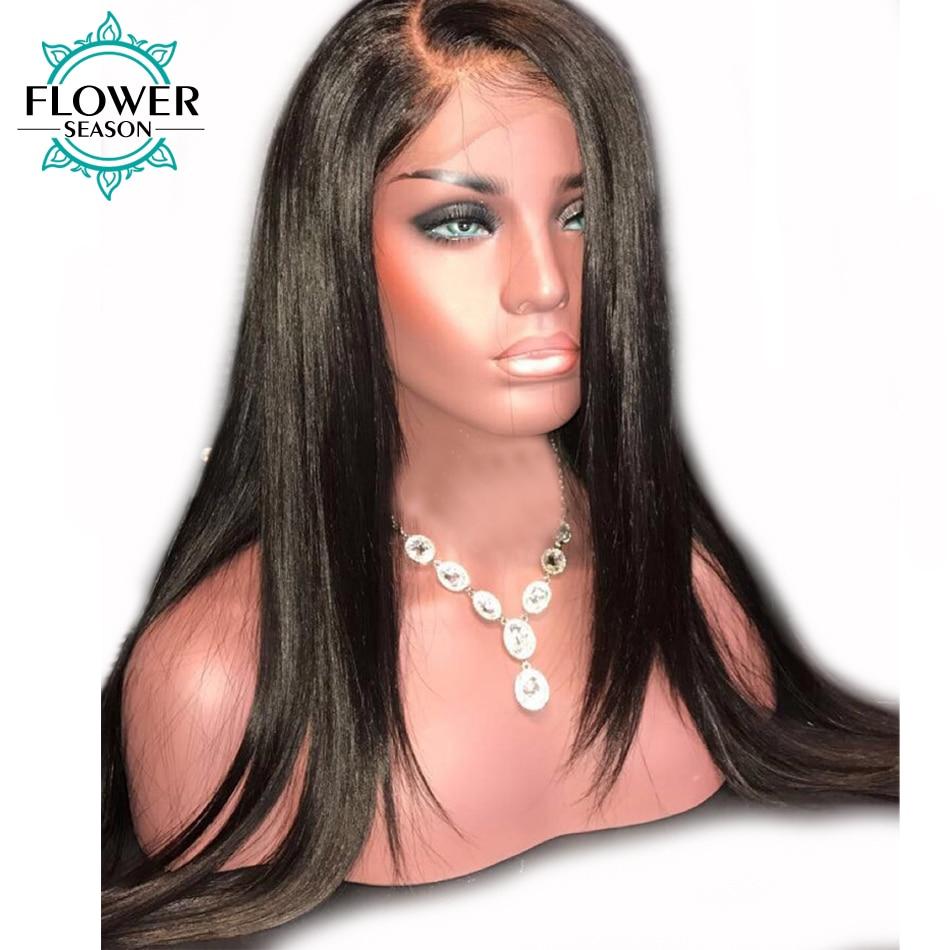 FlowerSeason Garis Rambut Alami Penuh Renda Rambut Manusia Wig Dengan - Rambut manusia (untuk hitam)