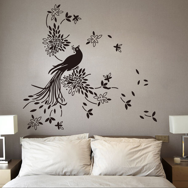 online buy wholesale peacock wall decal from china peacock wall decal wholesalers. Black Bedroom Furniture Sets. Home Design Ideas