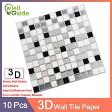 10pcs Wallpaper 3D Black Grey Marble Brick Self-Adhesive PU Wall Stickers Waterproof DIY Kitchen Bathroom Home PET paper
