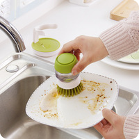 Creative Pot Brush Washing Liquid Storage Cup Kitchen Boiler Plastic Cleaning Brushes Kitchen Tools Dust Cleaning