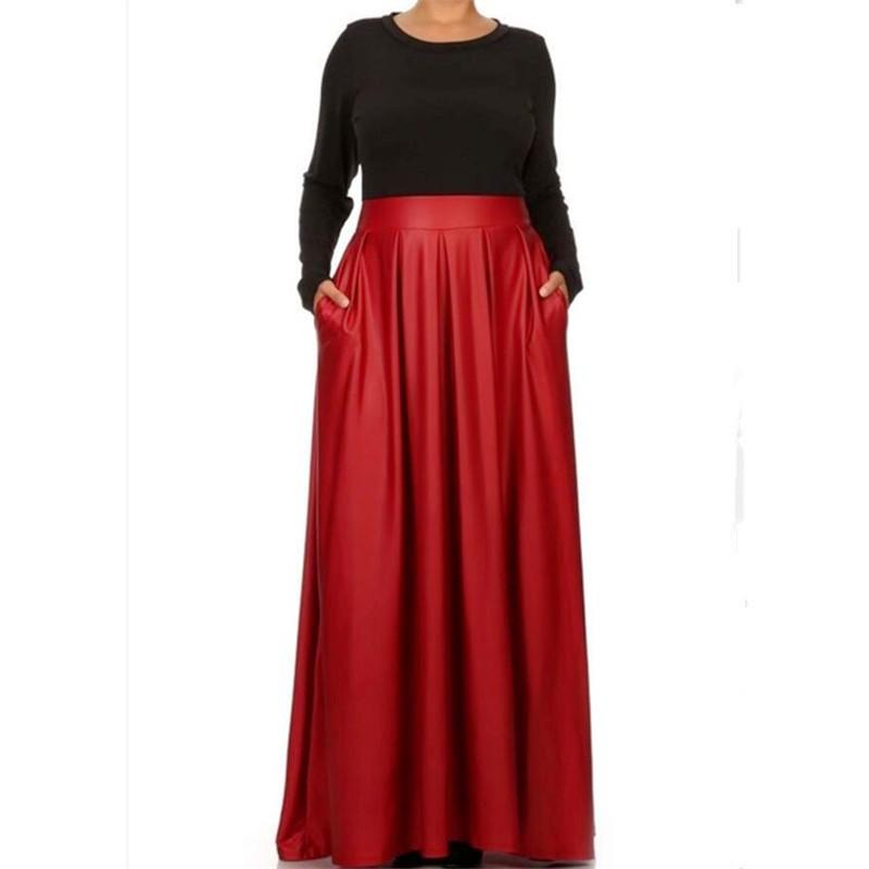 a018133c057 ... Long Warm Pleated Skirts Fashion Casual Maxi Runway Faux Leather Plus  Size Faldas Autumn Skirts SIZE. Length 95-100cm
