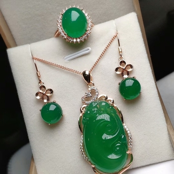 Koraba 14 Rose Gold Plated Green Jade Gemstone Lucky Wish Pendant Necklace Ring Earrings Jewelry Sets for Women