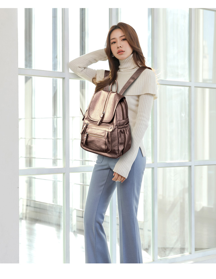 2018 Women Backpack high quality Leather  Fashion school Backpacks Female Feminine Casual Large Capacity Vintage Shoulder Bags