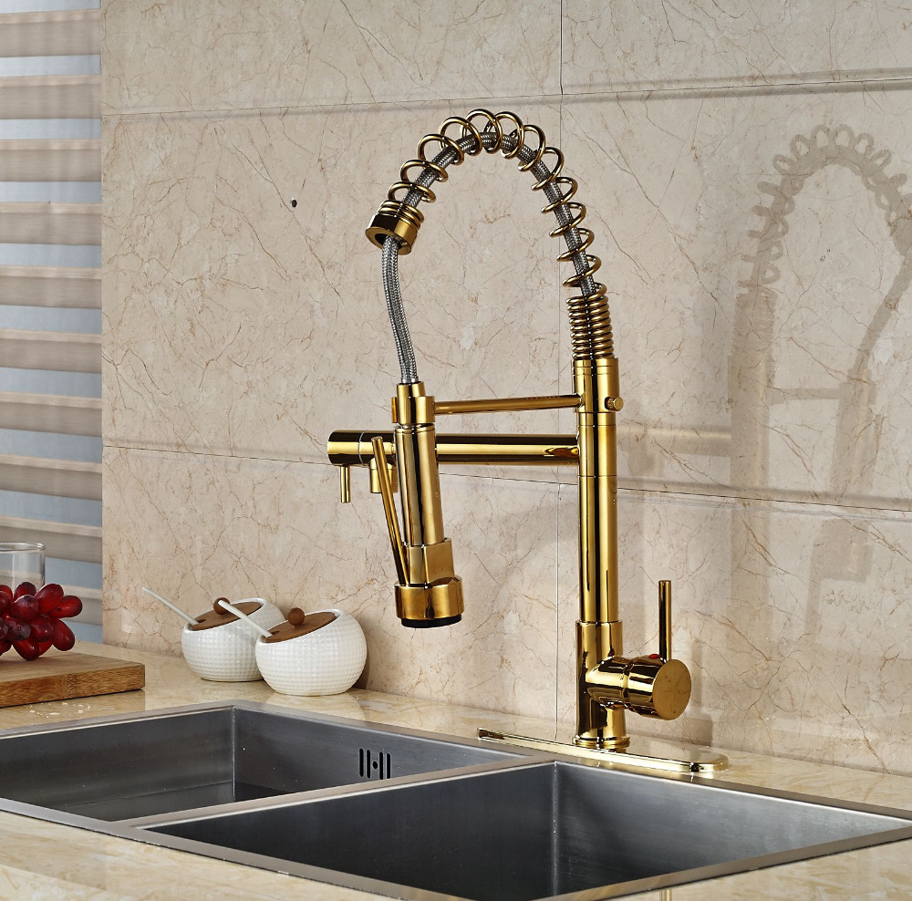 Modern Gold Kitchen Faucet Dual Spouts Spring Sink Mixer Tap With 10