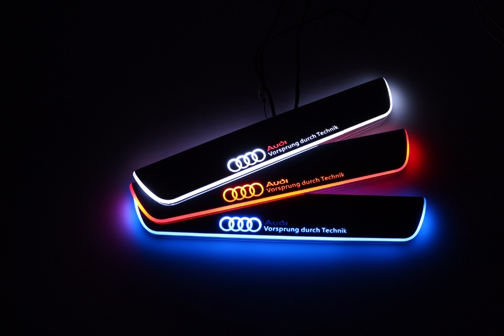 Qirun acrylic led moving door scuff welcome light pathway lamp door sill plate linings for Audi A5 S5 Coupe 2012 - 2015 free ship rear door of high quality acrylic moving led welcome scuff plate pedal door sill for 2013 2014 2015 audi a4 b9 s4 rs4 page 5
