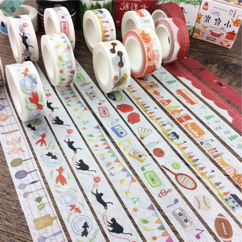 DIY Cute Kawaii Flower Bird Washi Tape Creative Life Masking Adhesive Tape For Decoration Diary Free Shipping 3064 plastic standing human skeleton life size for horror hunted house halloween decoration