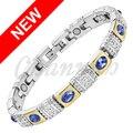 Channah 2017 Ladies Royal Azul CatEye Stones Oro Plata Pulsera Magnética Mujeres Con Encanto Regalo de la Joyería Del Brazalete Del Envío Libre
