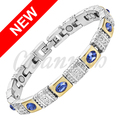 Channah 2017 Ladies Royal Blue CatEye Stones Gold Silver Magnetic Bracelet Women Wearing Gift Jewelry Bangle Free Shipping Charm