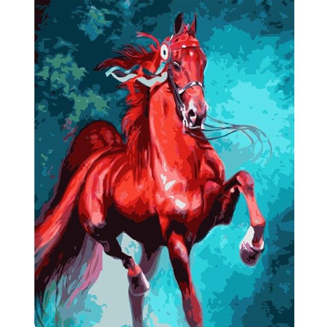 Diy Minyak Lukisan By Numbers Melompat Kuda Ruang Tamu Dinding