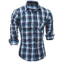 2017 New men's brand shirt Hot Sale Camisa Masculinan Dress Shirts Long Sleeve Plaid Men Casual Shirts Slim Fit chemise homme YJ