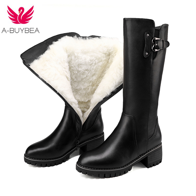 2017 New fashion Women's Shoes Genuine Leather Boots Knee-high Black Boots Wool Fur For Winter Women Warm Snow Boots Zip Shoes classicone woman shoes winter boots genuine leather suede knee high boots flats fur snow boots shoes women s brand fashion style