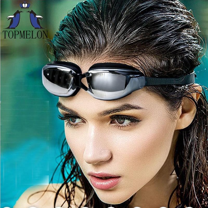 Gafas de natación de los nuevos hombres mujeres protección contra niebla UV gafa