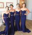 Elegant Dark Navy Blue Bridesmaid Dresses Long Mermaid Bridesmaid Dress With Belt Sexy Simple Sweetheart Bridesmaid Gowns B28
