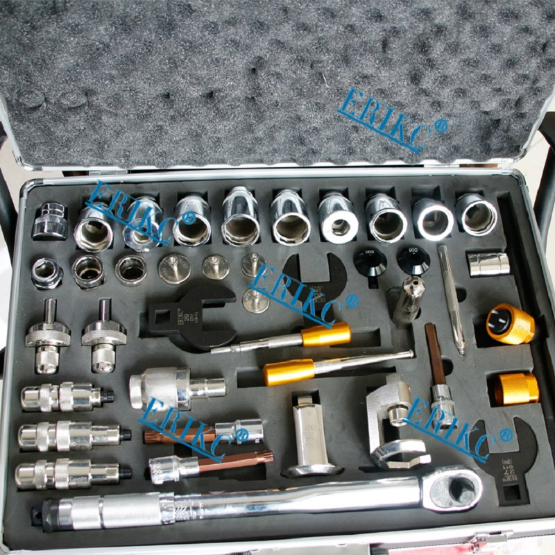ERIKC Hot Sale Injector Repair Tool Kits Diesel Fuel Injector Dismantling Equipments Total 40 pieces E1024001
