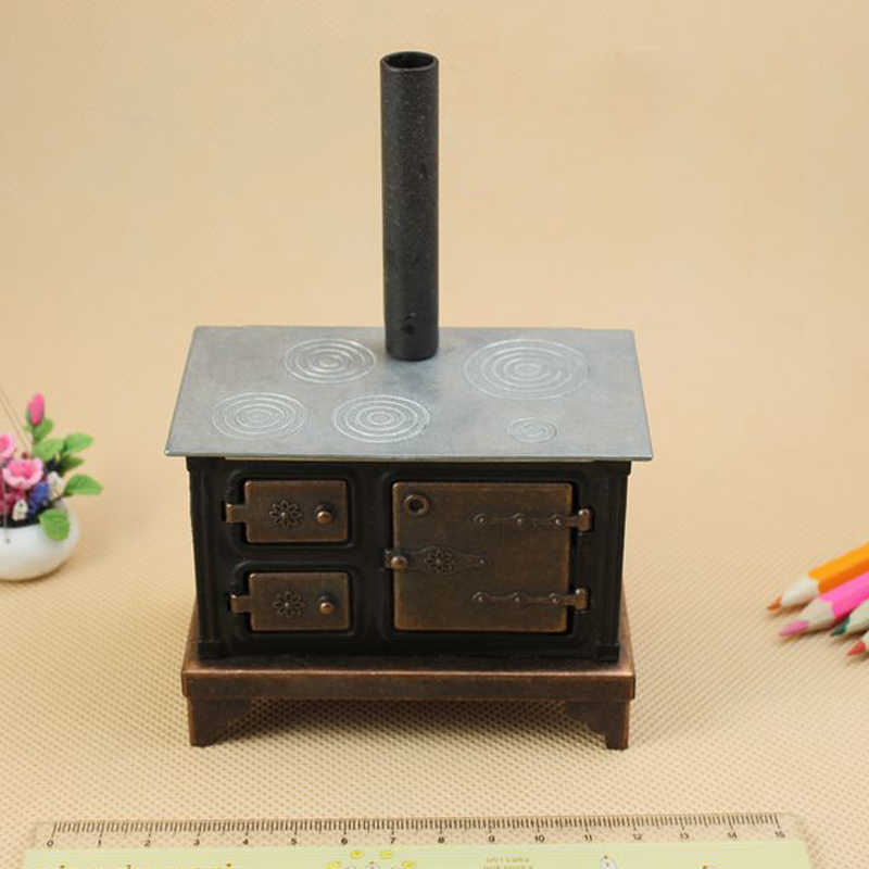 G05-X079 children baby gift Toy 1:12 Dollhouse mini Furniture Miniature baby alloy black stove 1pcs