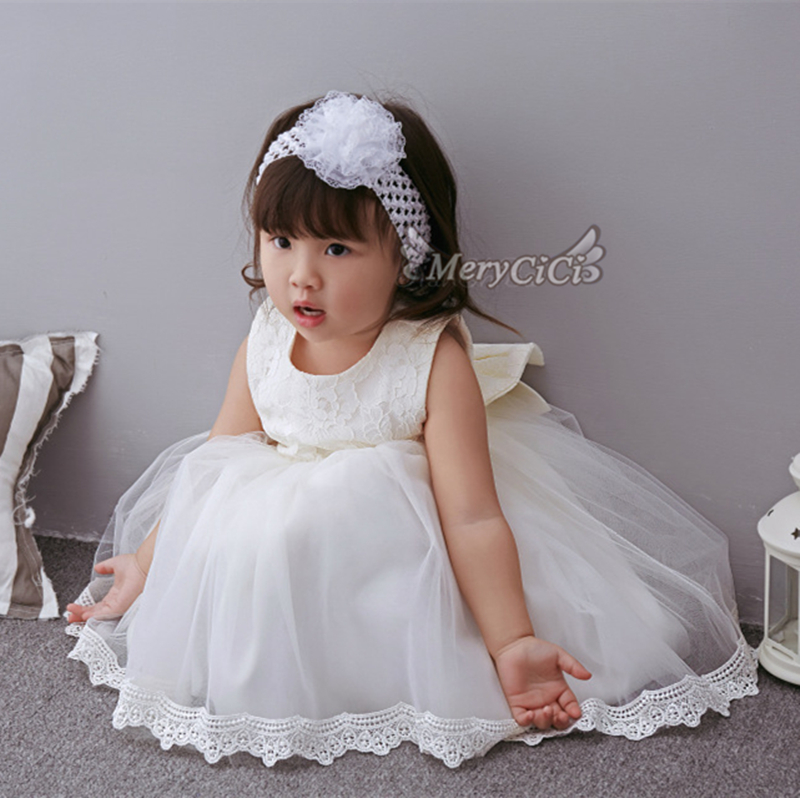 0288c0883 Baby Girl Dress Christening Gown White Wedding Baptism Baby Lace Big Bow  Princess Dress for Newborn Girls Wedding Birthday Party-in Dresses from  Mother ...