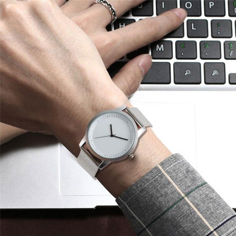 be2939a05073 Reloj minimalista plata malla banda Simple moda deporte hombres mujeres  reloj de pulsera vestido masculino Femenino reloj masculino hora saat en  Relojes ...