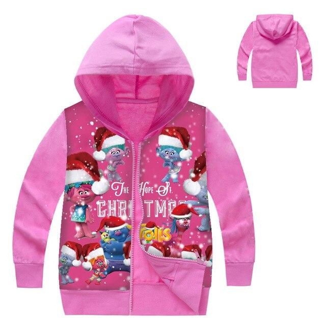zy 2 8years dreamworks trolls coat christmas jacket kids hoodies windbreaker outerwear coats babygirl - Christmas Jackets